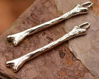 One Femur Bone Earring Charm or Connector Link, Sterling Silver Bones, CH-423