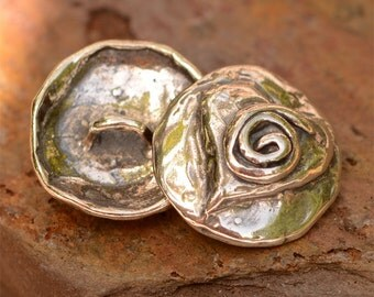 Artisan Spiral on Heart Sterling Silver Button Clasp