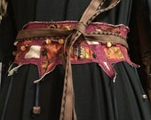 Ancestry Cloth Obi Belt #3 - One of a Kind Wearable Fine Art by Dawn Patel Art, fiber art, vintage sari silk and organic linen silk, leather