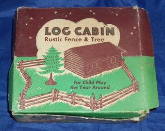 Vintage Bachmann Toy Log Cabin Plastic Snap-together Parts Fence Tree Cabin Original Box