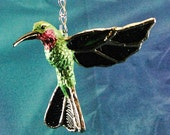 Stained glass Textured Blue Green Hovering Hummingbird Suncatcher
