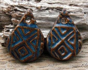 AZTEC EARRING PAIR - Handmade Ceramic Earring Pair or Small Pendants
