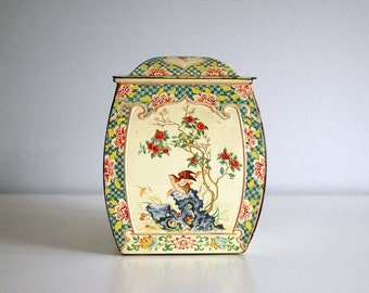 Vintage Yellow Holland Tin Birds, Flowers Vintage Kitchen Storage Container Canister Rustic Metal Box Chinoiserie Cottage Chic Asian Decor
