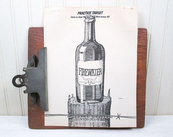 """Vintage Alcohol Bottle Paper Shooting Target 8.5"""" x 11"""" Firewater Wild West"""