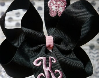 "4"" Monogrammed Boutique Sports Lover Hair Bow Great for teams  Over 100 colors available (listing for one bow)"