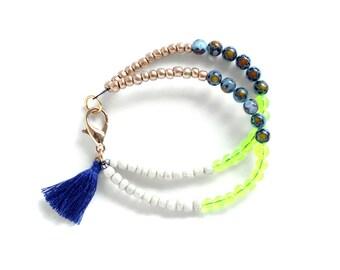 Bead Tassel Bracelet, Boho Tassel Jewelry, Navy Tassel Bracelet, Stacking Bracelet, Beaded Friendship Bracelet, Boho Jewelry, Tassel Charm