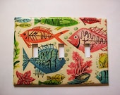 atomic fish triple switch plate retro 1950's vintage nautical kitsch light switch cover