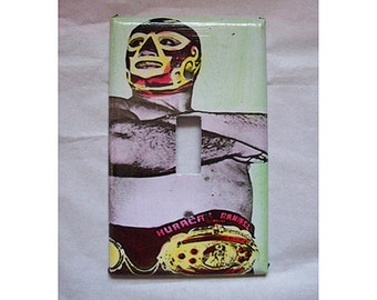 Lucha libre switch plate retro Mexican wrestler luchador light switch kitsch