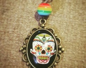 The Clown Sugar Skull Glass Cameo Necklace