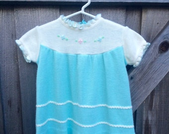 70s Knit Baby Dress 6/9 Months