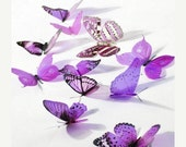 NEW YEAR SALE 6 x Special Magenta 3D Butterflies great for Weddings, Crafts