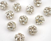 Vintage Austrian crystal bling beads, round clear rhinestones silvertone 8mm, 12 pcs