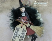 HALLOWEEN Ornament for Halloween tree TRICK or TREAT Witch with Broom