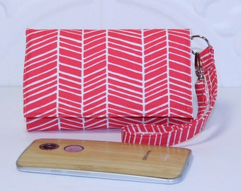 Cell Phone Wristlet Wallet iPhone Wristlet With Card Holder / iPhone 5/6/6 Plus / Moto X / NEW STYLE TECH / Poppy Pink Herringbone