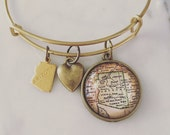Arizona Map Charm Bangle Bracelet - Personalized Map Jewelry - Stacked Bangle - Tucson - Grand Canyon - Phoenix - Flagstaff - Scottsdale