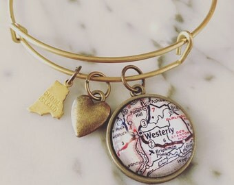 Westerly Map Charm Bangle Bracelet - Personalized Map Jewelry - Stacked Bangle - Rhode Island - New England