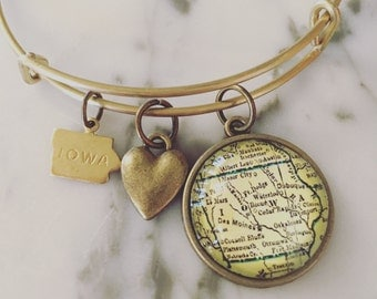 Iowa Map Charm Bangle Bracelet - Personalized Map Jewelry - Stacked Bangle - State Love - Des Moines - Ames - Iowa City - Cedar Rapids