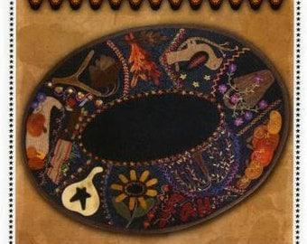 Primitive Folk Art Wool Applique Pattern - Fall Crazy Table Mat - Crazy Patch Primitive Gatherings