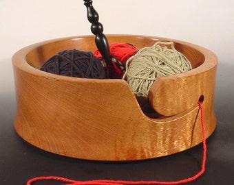 Spanish Cedar Wooden Yarn Corral Bowl Turned Wood Bowl Art  Number 6245
