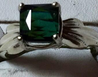 Green Tourmaline silver ring size 6.5