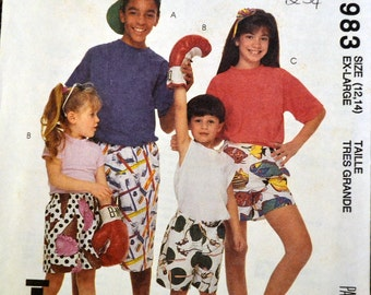 Vintage Sewing Pattern McCall's 5983 Boys' and Girls' Boxer Shorts Complete Size 12-14