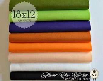 Halloween Felt Collection, Wool Blend Felt, Wool Felt Sheets, Wool Felt Fabric, Felt Fabric Bundles, Wool Felt Bundles, Halloween Felt