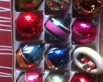 Vintage Glass Ornament Mix  12 different sizes and shapes of them  made in the USA