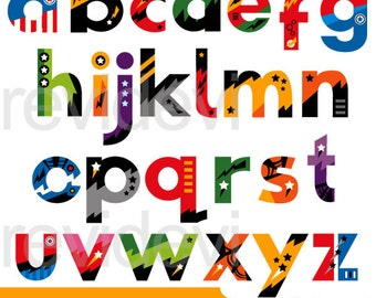 Superhero clipart - Superhero alphabet small caps clip art - letters clipart - digital images, instant download, commercial use