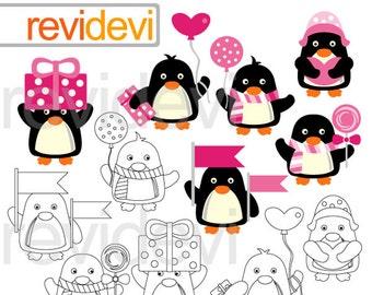 Valentine Penguins clipart / cute penguin clipart pink black / digital images / penguins clip art / commercial use / instant download