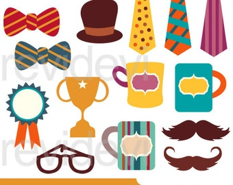 Happy Father's Day Clipart - Bow tie, trophy, mug, mustache, hat clipart - instant download