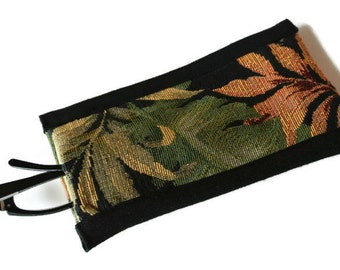 Tropical Reading Glasses Case , Leaf Glasses Case , Case for Glasses , Reading Glasses Cover , Soft Eyeglasses Pouch , Green Rust Black