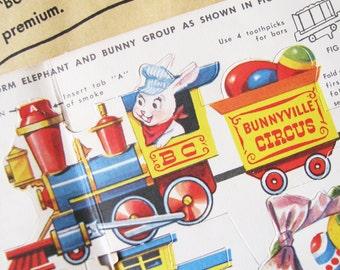 The Bunnyville Circus Express...Adorable Vintage NOS Easter Decorations