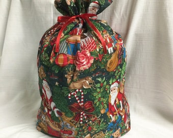 Extra Large Christmas Gift Bag  20 inches x 29 inches - Santa Toys Green - Reusable Eco-Friendly Cotton Fabric