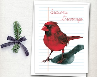 Christmas Card - Holiday Card - Bird Card - Cardinal Christmas Card - Illustrated Card - Seasons Greetings - Woodland Card - Card Set