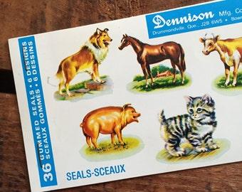 Vintage Dennison Farm Animals Gummed Seals (Stickers, Decals) - Book of 36 Seals
