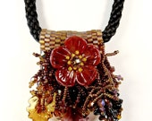 Poppy Flower Kumihimo Jewelry Fringe Necklace Lampwork Flowers Kumihimo Necklace Lampwork Necklace Statement Necklace Flower Necklace Slider