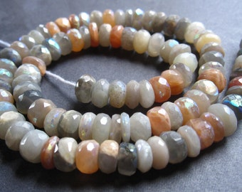 Mystic AB Multi Moonstone Faceted Rondelles - 6 1/2 inches - 7mm X 4mm