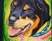 Rottweiler Art Card Dog with Daisies and Happy Laughing Smiling Pooch FREE SHIPPING USA