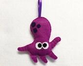 Octopus Ornament, Christmas Ornament, Shannon the Octopus - Made to Order, Felt Animal, Ocean, Magenta, Purple