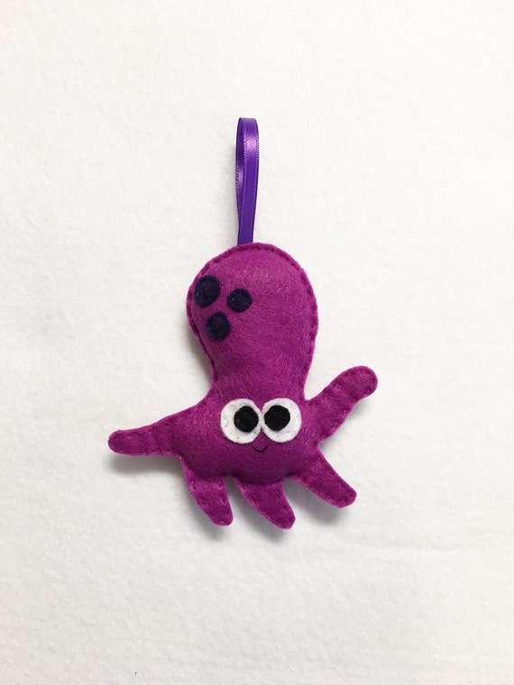 Octopus Ornament, Christmas Ornament, Shannon the Octopus - Made to Order, Felt Animal, Ocean, Magenta, Purple