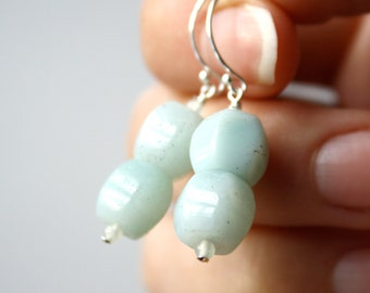 Big Dangle Earrings . Amazonite Jewelry . Blue Gemstone Earrings . Sky Blue Earrings . Light Blue Stone Earrings - Antigua Collection