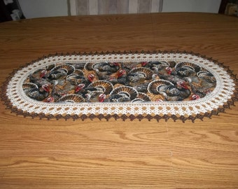 Crocheted Thanksgiving Turkeys Table Runner 16 x 36 Fabric Center Centerpiece Table Topper Dresser Scarf Holiday Hostess Gift
