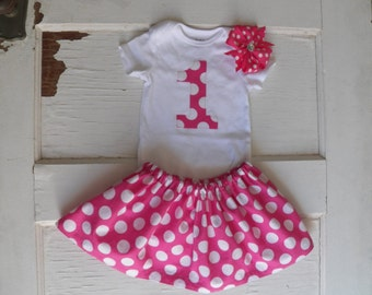 1st Birthday Outfit - hot pink with white polka dots
