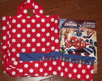 Red polka dot with blue crayon roll set