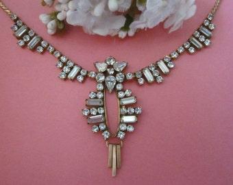 Vintage Gold-Filled Rhinestone Necklace signed M&S