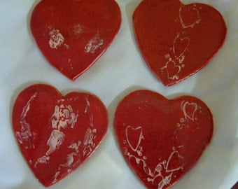 Four Hearts Ceramic  Coaster Set