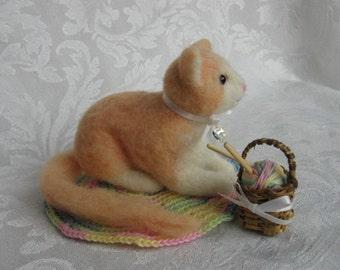 Needle Felted Cat-Needle Felted Kitten-Felt Cat- Felted Cat-Knitting Basket-Waldorf-Dollhouse Pet
