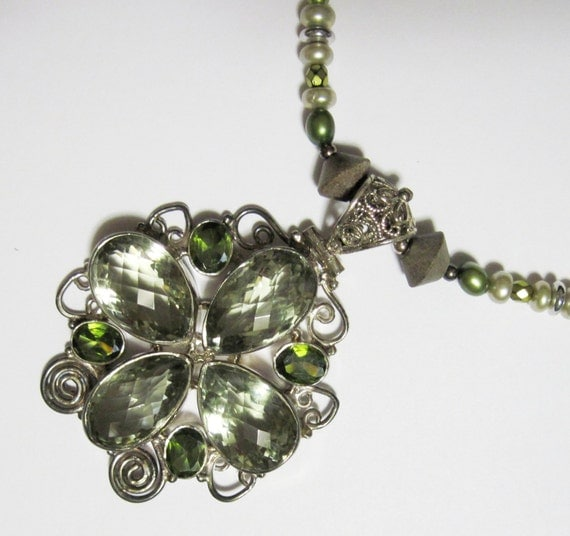 Green Amethyst Gemstone Necklace Sterling Silver Pearl