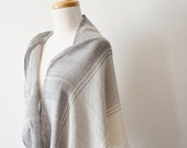 Sale Fringed Boho Blanket Scarf - Ombre Grey to White - Striped, Handwoven, High-Quality Slow Fashion Woven Modern Oversized Shawl Scarf w/F