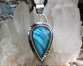 Blue Labradorite Pendant, Teardrop, Natural Jewelry, Metalwork, Stamped, Sterling Silver